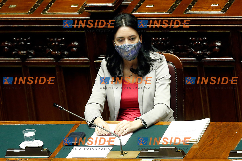The Minister of Instruction Lucia Azzolina wears a face mask during her information at the Chamber of Deputies, about the measures to contrast the Covid-19 pandemic at the reopening of the schools in September.<br /> Rome (Italy), July 28th 2020