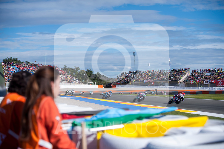 VALENCIA, SPAIN - NOVEMBER 11: Moto3 race during Valencia MotoGP 2016 at Ricardo Tormo Circuit on November 11, 2016 in Valencia, Spain