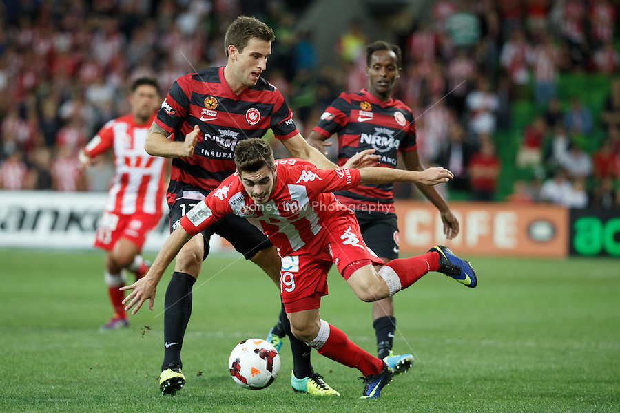 Benjamin GARUCCIO of the Heart is fouled in the round 27 match between Melbourne Heart and  the Western Sydney Wanderers in the Australian Hyundai A-League 2013-24 season at AAMI Park, Melbourne, Australia. Photo Sydney Low/Zumapress<br /> <br /> This image is not for sale on this web site. Please visit zumapress.com for licensing