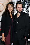 """WESTWOOD, CA. - December 16: Actress Christel Khalil and husband Stephen Hensley arrive at the Los Angeles premiere of """"Seven Pounds"""" at Mann's Village Theater on December 16, 2008 in Los Angeles, California."""