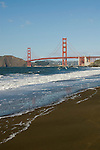San Francisco: Baker Beach with Golden Gate Bridge in background.  Photo # 2-casanf76422.  Photo copyright Lee Foster