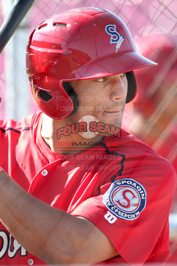 Spokane Indians outfielder Zach Cone #32 before a game against the Salem-Keizer Volcanoes at Volcanoes Stadium on August 10, 2011 in Salem-Keizer,Oregon. Salem-Keizer defeated Spokane 7-6.(Larry Goren/Four Seam Images)