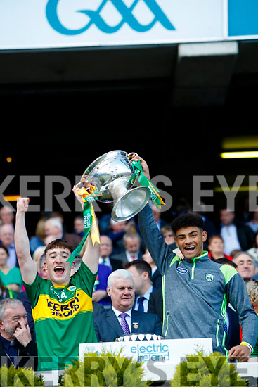 Cathal Ferriter Kerry Minors celebrate with the Tom Markham Cup after defeating Derry in the All-Ireland Minor Footballl Final in Croke Park on Sunday.
