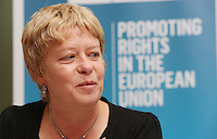 ** FEE PIC **.01/10/2012.Ann Singleton Founder of Statewatch during a briefing by Statewatch & the ICCL entitled Unlocking the EU - A Statewatch Masterclass in the EU Parliament Offices on Dawson Street. Dublin.The Irish Council for Civil Liberties (ICCL) has recently been awarded significant funding by the European Commission to formalise its European Rights Network, JUSTICIA, and is very pleased to announce that the first of a series of EU-wide Masterclasses by its JUSTICIA network partner, Statewatch..Photo: Gareth Chaney Collins
