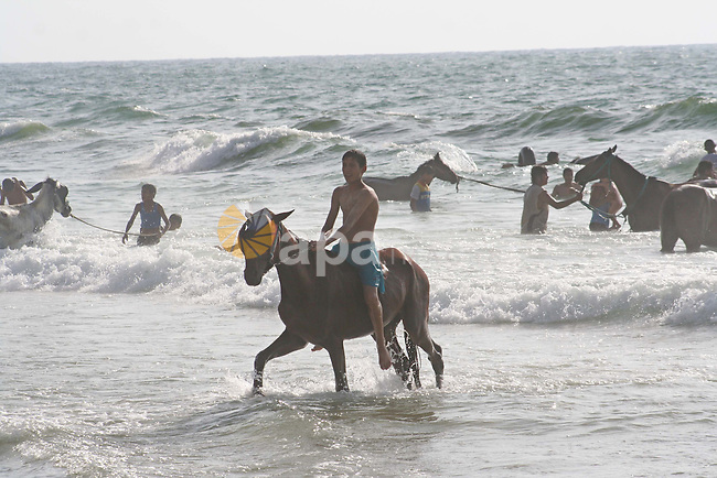 Palestinians play with horses on the beach, in Gaza City. Prevailed a state of happiness and a sense of hope among the Palestinians after hear the speeches of the Palestinian President Mahmoud Abbas and the former Prime Minister of Hamas  Ismail Haniyeh for the National Reconciliation. Palestinians become to watch the moment of announcing the ending of the dispute between Hamas and Fatah after Hamas has controlled Gaza Strip by military force in June 2007.