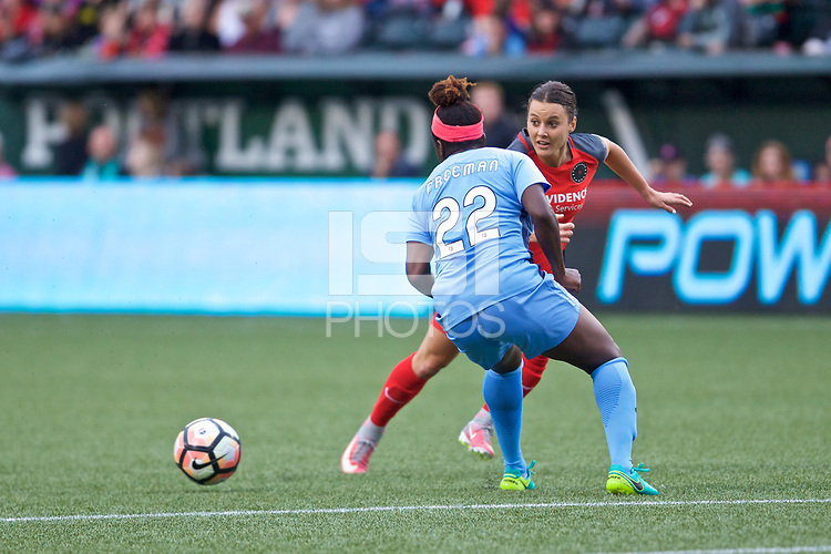 Portland, OR - Saturday June 17, 2017: Mandy Freeman, Hayley Raso during a regular season National Women's Soccer League (NWSL) match between the Portland Thorns FC and Sky Blue FC at Providence Park.