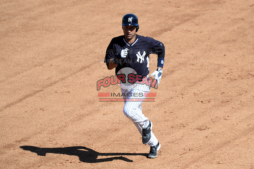 Shortstop Derek Jeter (2) of the New York Yankees during a spring training game against the Philadelphia Phillies on March 1, 2014 at Steinbrenner Field in Tampa, Florida.  New York defeated Philadelphia 4-0.  (Mike Janes/Four Seam Images)
