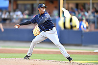 Charleston RiverDogs starting pitcher Roansy Contreras (7) delivers a pitch during a game against the Asheville Tourists at McCormick Field on April 10, 2019 in Asheville, North Carolina. The  RiverDogs defeated the Tourists 5-3. (Tony Farlow/Four Seam Images)