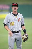 Jordan Luplow (16) of the West Virginia Power warms up in the outfield prior to the game against the Kannapolis Intimidators at Intimidators Stadium on July 3, 2015 in Kannapolis, North Carolina.  The Intimidators defeated the Power 3-0 in a game called in the bottom of the 7th inning due to rain.  (Brian Westerholt/Four Seam Images)