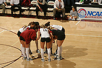 3 December 2005: Bryn Kehoe, Franci Girard, Foluke Akinradewo, Courtney Schultz, and Kristin Richards and Katie Goldhahn during Stanford's 3-1 loss to Santa Clara University at Maples Pavilion in Stanford, CA.