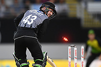 Tim Seifert is bowled by Stoinis.<br /> New Zealand Black Caps v Australia.Tri-Series International Twenty20 cricket final. Eden Park, Auckland, New Zealand. Wednesday 21 February 2018. &copy; Copyright Photo: Andrew Cornaga / www.Photosport.nz