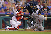 PHILADELPHIA - JUNE 20: Jon Jay #19 of the St. Louis Cardinals slides safely into home as Carlos Ruiz #51 of the Philadelphia Phillies attempts to make the tag in the eighth inning during a game at Citizens Bank Park on June 20, 2015 in Philadelphia, Pennsylvania. The Cardinals won 10-1. (Photo by Hunter Martin/Getty Images) *** Local Caption *** Jon Jay;Carlos Ruiz