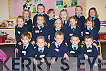 SMILES: All smiles on their first day of school at Currow NS front l-r: Adam Healy, Bryan Roche, John Curtin, Adam Bulter and Isaac O'Rourke. Seated l-r: Leah Cahill, Maggie O'Callaghan, Laura Manley, Leah Pidgeon, Hillary O'Connor. Back l-r: Caithlin Toomey, Darragh Dennehy Kelly, Tamara O'Connor, Lucy Daly, Brandon McMahon and Caitlin Bird.   Copyright Kerry's Eye 2008