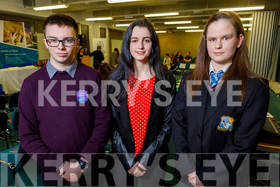 Students who received awards at the Kerry ETB Student Awards ceremony in the IT Tralee on Friday night. L to r: Kieran Duggan (Colaiste Glean Lí, Exceptional Involvement at the School Life Junior Cycle), Gabrielle O'Brien (Tralee Youth Reach, Student of the Year Award) and Nadine Moloney (Colaiste Na Riochta, Listowel (Junior Cert Award).