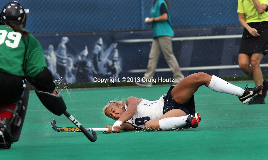 Penn State's Taylor Herold (8) takes a shot on goal against Maryland's goalkeeper Natalie Hunter (99) on Aug. 23, 2013. Photo/©2013 Craig Houtz