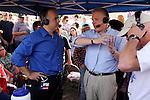 Television and radio host Glenn Beck, right, speaks with WOAI radio host Joe Pagliarulo, Wednesday, April 15, 2009, at the Alamo in San Antonio. (Darren Abate/pressphotointl.com)