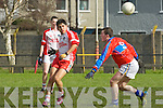 Mairtín O Gorman (pobalscoil Chorca,Dhuibhne) in action with Timmy Hussey (KIC) in the under 16 1/2 Colleges Semi-Final at Austin Stack GAA Grounds Connolly Park, Tralee on Wednesday.