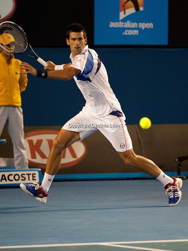 January 27, 2011.Novak Djokovic of Serbia, in action, defeating Roger Federer of Switzerland, in the semi-final at the Australian Open,Rod Laver Stadium, Melbourne Park, Melbourne, Australia.