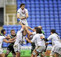 READING, ENGLAND : Hugh Chalmers of Bordeaux-Begles wins the line out during the Amlin Challenge Cup match between London Irish and Bordeaux-Begles at Madejski Stadium on January 18, 2013 in Reading, England.