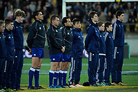 Match officials line up before the Rugby Championship match between the New Zealand All Blacks and South Africa Springboks at Westpac Stadium in Wellington, New Zealand on Saturday, 15 September 2018. Photo: Dave Lintott / lintottphoto.co.nz