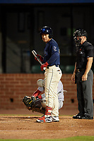 Mobile BayBears Jahmai Jones (15) at bat during a Southern League game against the Jacksonville Jumbo Shrimp on May 7, 2019 at Hank Aaron Stadium in Mobile, Alabama.  Mobile defeated Jacksonville 2-0.  (Mike Janes/Four Seam Images)