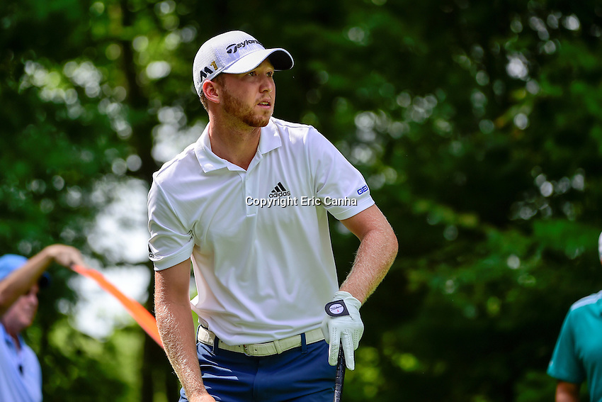 Saturday, September 3, 2016:  Daniel Berger watches the flight of his ball from the 9th tee box during the second round of the Deutsche Bank Championship tournament held at the Tournament Players Club, in Norton, Massachusetts.  Eric Canha/Cal Sport Media