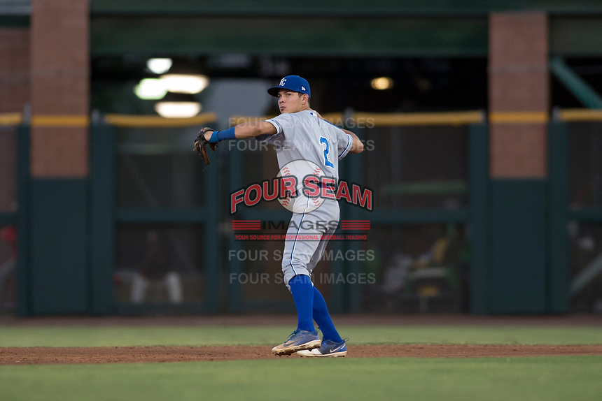AZL Royals second baseman Kember Nacero (2) during an Arizona League game against the AZL Giants Black at Scottsdale Stadium on August 7, 2018 in Scottsdale, Arizona. The AZL Giants Black defeated the AZL Royals by a score of 2-1. (Zachary Lucy/Four Seam Images)