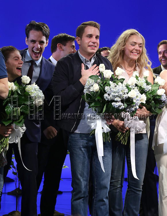 Laura Dreyfuss, Steven Levenson, Ben Platt and Rachel Bay Jones during the Broadway Opening Night Performance Curtain Call for 'Dear Evan Hansen'  at The Music Box Theatre on December 3, 2016 in New York City.