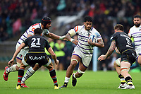 Valentino Mapapalangi of Leicester Tigers takes on the Northampton Saints defence. Gallagher Premiership match, between Northampton Saints and Leicester Tigers on October 6, 2018 at Twickenham Stadium in London, England. Photo by: Patrick Khachfe / JMP