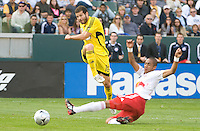 Alejandro Moreno shoots and scores in the first half, MLS Cup 2008, Columbus Crew vs New York Red Bull, Sunday, November 23, 2008.