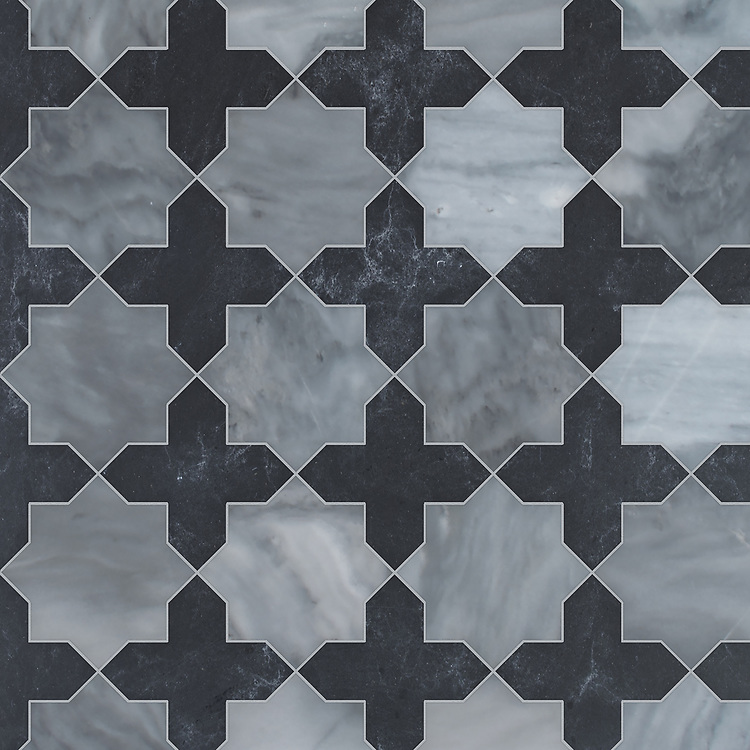 Isaac, a waterjet stone mosaic, shown in polished Allure and honed Orpheus Black, is part of the Semplice® collection for New Ravenna.