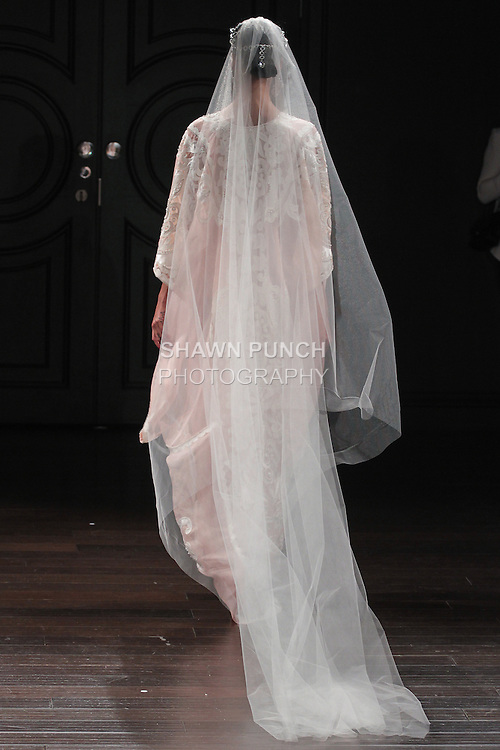 Model walks runway in a Cairo bridal gown from the Naeem Khan Bridal Spring 2017 collection at 260 West 36 Street, during New York Bridal Fashion Week Spring Summer 2017 on April 16, 2016.