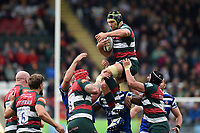 Graham Kitchener of Leicester Tigers wins the ball in the air. Gallagher Premiership match, between Leicester Tigers and Bath Rugby on May 18, 2019 at Welford Road in Leicester, England. Photo by: Patrick Khachfe / Onside Images