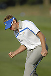 European Team player Ian Poulter pumps after sinking his putt on the 4th green during the Morning Foursomes on Day1 of the Ryder Cup at Valhalla Golf Club, Louisville, Kentucky, USA, 19th September 2008 (Photo by Eoin Clarke/GOLFFILE)