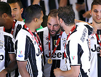 Gonzalo Higuain of Juventus  celebrates at the end of    Italian Cup Final  football match against SS Lazio at  the Olympic stadium in Rome, Italy   17  May 2017
