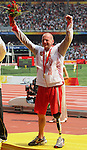 Earle Connor of Calgary shows off his gold medal in the men's 100 metres  at the Paralympic Games in Beijing, Sunday, Sept., 14, 2008. Photo by Mike Ridewood/CPC
