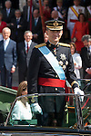 King Felipe VI of Spain leaves Congreso de los Diputados after the celebration of his coronation ceremony in Madrid, Spain. Kin Juan I of Spain abdicated on his son Felipe at the beginning of June. June 19, 2013. (ALTERPHOTOS/Victor Blanco)