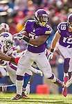 19 October 2014: Minnesota Vikings running back Jerick McKinnon breaks tackles for yardage against against the Buffalo Bills in the third quarter at Ralph Wilson Stadium in Orchard Park, NY. The Bills defeated the Vikings 17-16 in a dramatic, last minute, comeback touchdown drive. Mandatory Credit: Ed Wolfstein Photo *** RAW (NEF) Image File Available ***