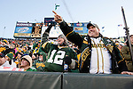 Green Bay Packers fans celebrate a touchdown during an NFL divisional playoff football game against the New York Giants on January 15, 2012 in Green Bay, Wisconsin. The Giants won 37-20. (AP Photo/David Stluka)