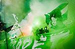 BETALBILD Solna 2015-03-07 Fotboll Allsvenskan AIK - Hammarby IF :  <br /> Hammarbys supportrar med flaggor , r&ouml;k och en banderoll med texten &quot; S&ouml;der Br&ouml;der Gl&ouml;der &quot; under ett tifo inf&ouml;r matchen mellan AIK och Hammarby IF <br /> (Foto: Kenta J&ouml;nsson) Nyckelord:  AIK Gnaget Friends Arena Svenska Cupen Cup Derby Hammarby HIF Bajen supporter fans publik supporters tifo r&ouml;k bengaler bengaliska eldar banderoll banderoller budskap inomhus interi&ouml;r interior