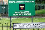 LONDON, ENGLAND, 22 May ,2014.  The Royal Artillery Barracks sign outisde Woolwich Barracks at the first anniversary of the murder of Fusilier Lee Rigby  near his Woolwich barracks.