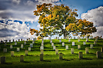 Autumn view in Veterans Administration cemetery, Dayton Ohio. National Cemetery,