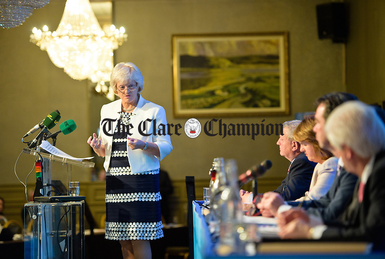 Patricia King General Secretary ICTU addresses the Irish Congress of Trade Unions' Biennial Delegate Conference in Treacey's West County Hotel. Photograph by John Kelly.