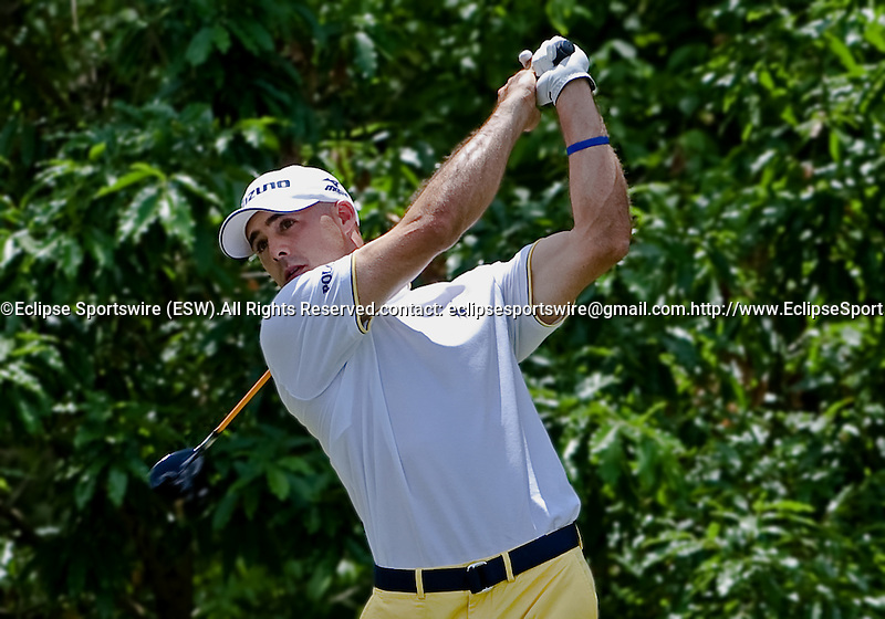 Jonathan Byrd teeing off during Wednesday's Pro-Am Tournament