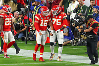 2nd February 2020, Miami Gardens, Florida, USA;   Kansas City Chiefs Quarterback Patrick Mahomes (15) reacts with Kansas City Chiefs Offensive Tackle Cam Erving (75) after he scores a touchdown during the first quarter of Super Bowl LIV on February 2, 2020 at Hard Rock Stadium in Miami Gardens