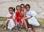 A group of local children before the Sunday church service in Funafuti, Tuvalu