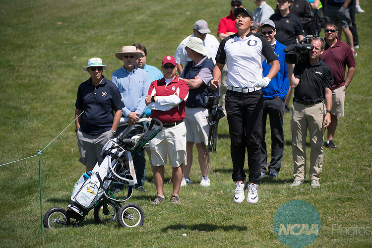 SUGAR GROVE, IL - MAY 31: Norman Xiong of the University of Oregon improves his view of the flag with a jump during the Division I Men's Golf Team Championship held at Rich Harvest Farms on May 31, 2017 in Sugar Grove, Illinois. Oklahoma won the team national title. (Photo by Jamie Schwaberow/NCAA Photos via Getty Images)
