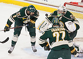 Michael Paliotta (UVM - 2), Brody Hoffman (UVM - 37) - The Boston College Eagles defeated the visiting University of Vermont Catamounts to sweep their quarterfinal matchup on Saturday, March 16, 2013, at Kelley Rink in Conte Forum in Chestnut Hill, Massachusetts.
