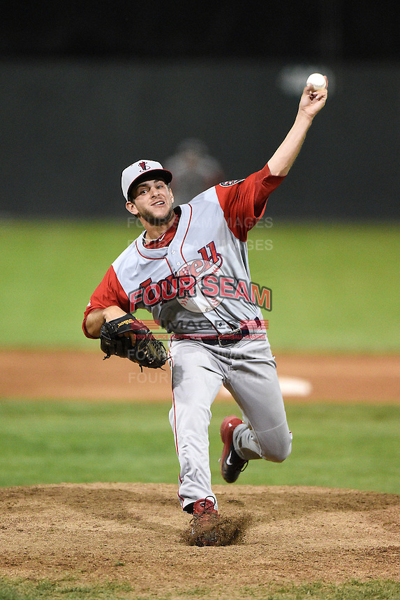 Lowell Spinners pitcher Rob Smorol (31) delivers a pitch during a game against the Batavia Muckdogs on July 18, 2014 at Dwyer Stadium in Batavia, New York.  Lowell defeated Batavia 11-2.  (Mike Janes/Four Seam Images)