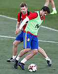 Spain's Alvaro Morata (r) and Asier Illarramendi during training session. March 20,2017.(ALTERPHOTOS/Acero)